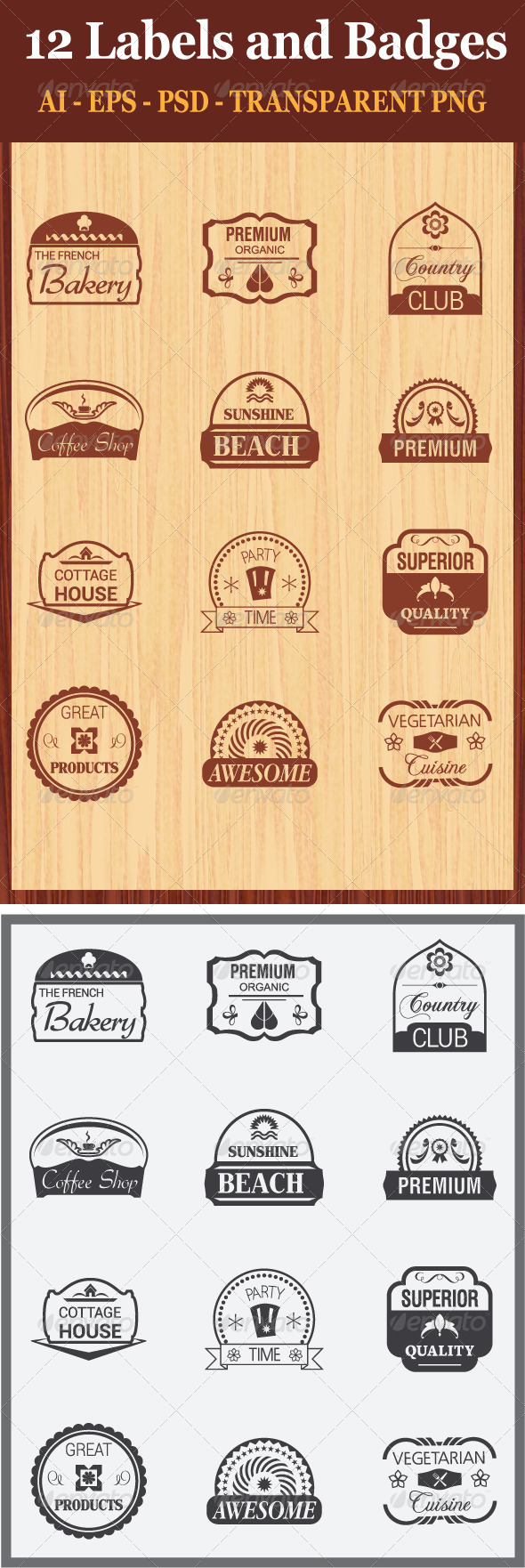 GraphicRiver 12 Labels and Badges 7158384