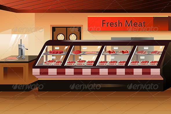 GraphicRiver Grocery Store Meat Section 7158395