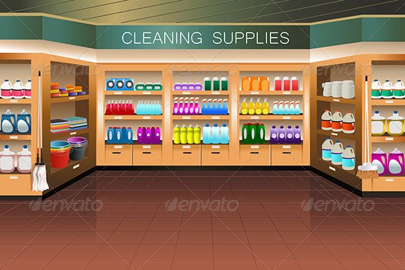 GraphicRiver Grocery Store Cleaning Supply Section 7158439