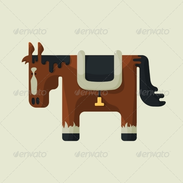Brown Square Shape Horse
