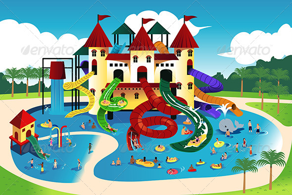 GraphicRiver People Going to Water Park 7158482