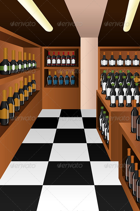 GraphicRiver Wine Section in a Store 7158512