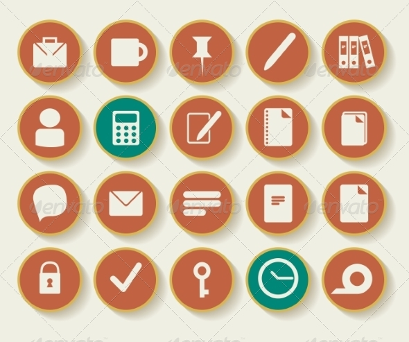 GraphicRiver Business and Office Icons with White Background 7159239