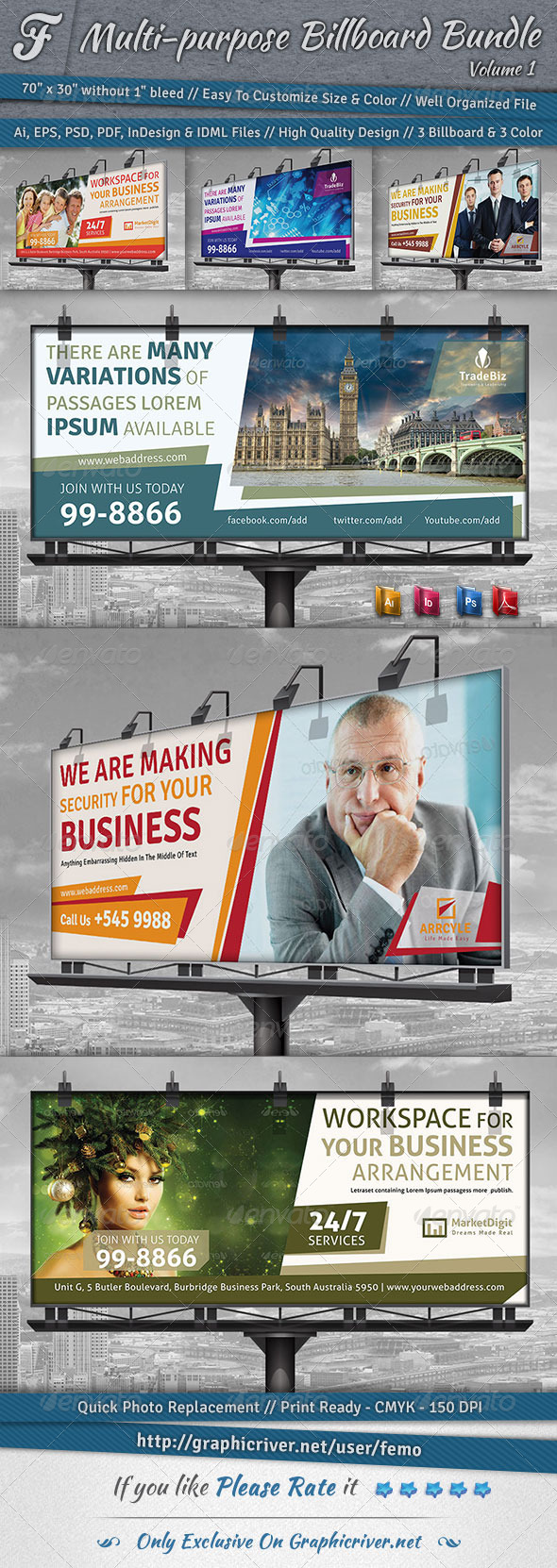 GraphicRiver Multi-purpose Billboard Bundle Volume 1 7144285
