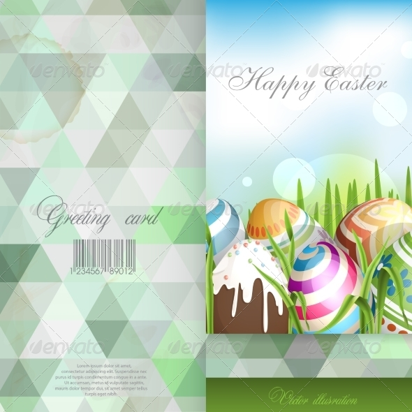GraphicRiver Easter Background with Eggs in Grass 7159804