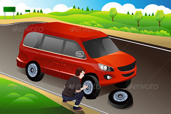 GraphicRiver Man Changing Flat Tire 7160290