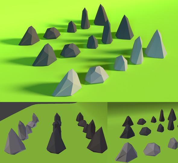 3DOcean LowPoly Stones Pack3 7160405