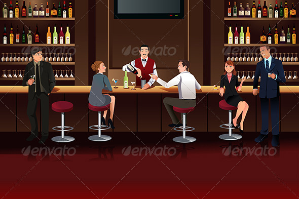 GraphicRiver Business People in a Bar 7160615