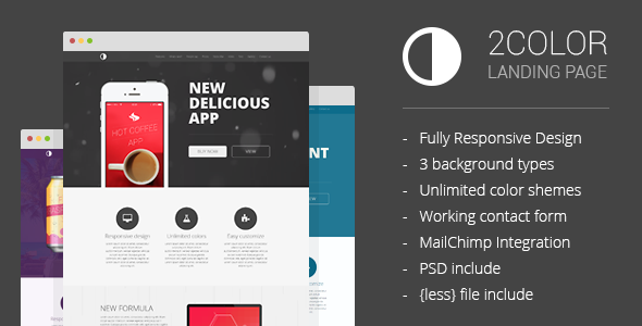 ThemeForest 2Color Customizable Landing Page 7160987