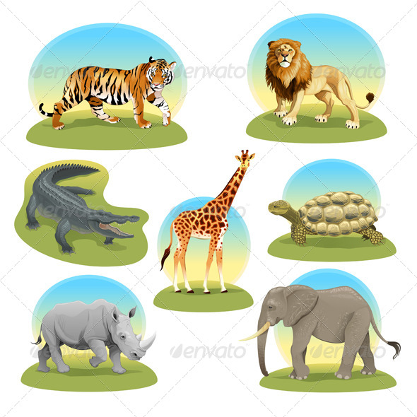 GraphicRiver African Animals with Graphic Backgrounds 7161244