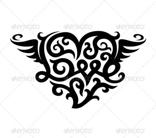 GraphicRiver Tattoo with Love Heart Symbol 7161835