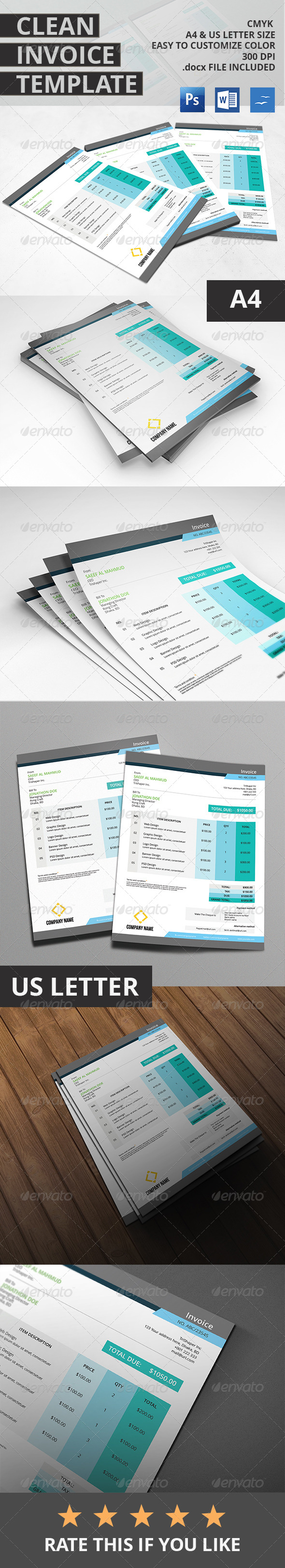 GraphicRiver Clean Invoice Template 7148551