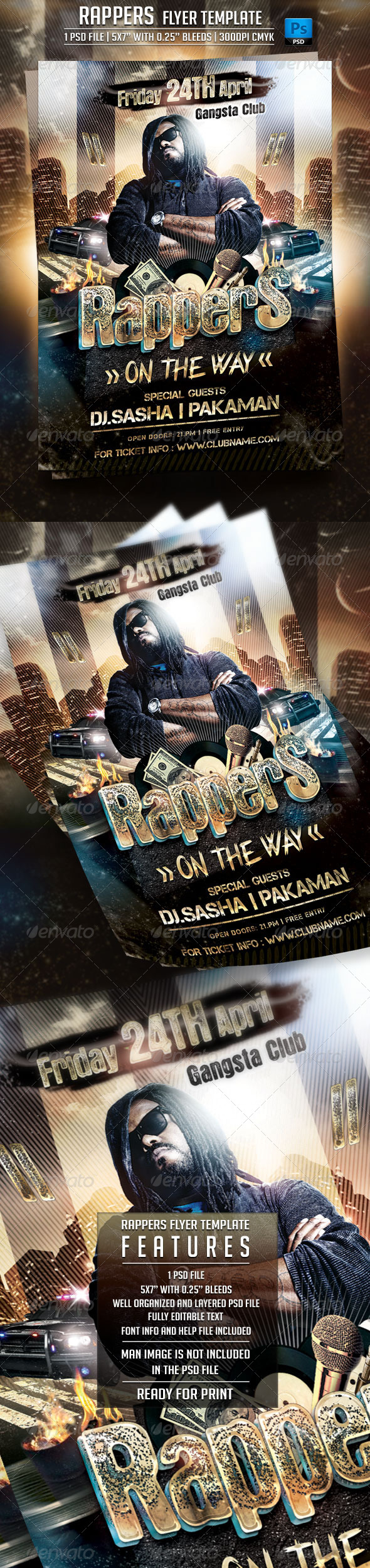 GraphicRiver Rappers Flyer Template 7162436