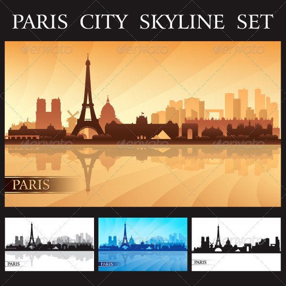 GraphicRiver Paris City Skyline Silhouettes Set 7162467