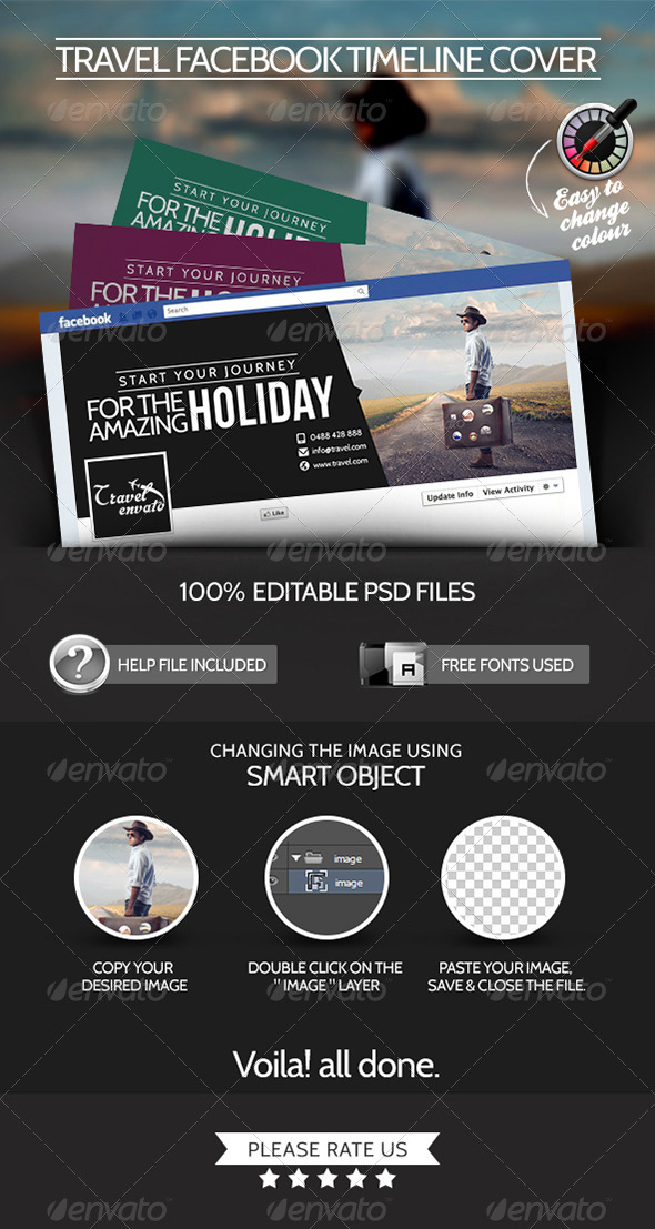 GraphicRiver Facebook Cover page for Travel Company 7163442