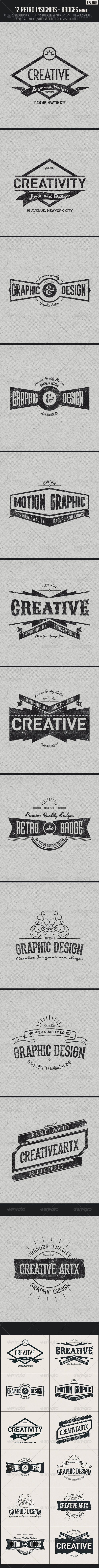12 Retro Insignias - Badges  - Badges & Stickers Web Elements