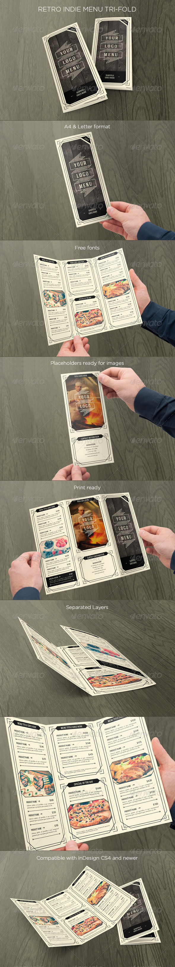 GraphicRiver Retro Indie Menu Trifold 7155587