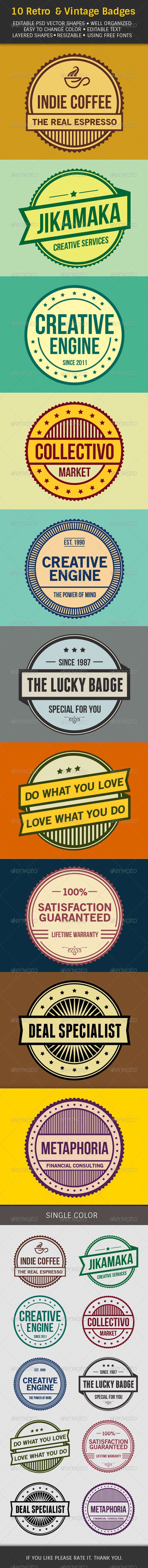 GraphicRiver 10 Retro & Vintage Badges 7163724