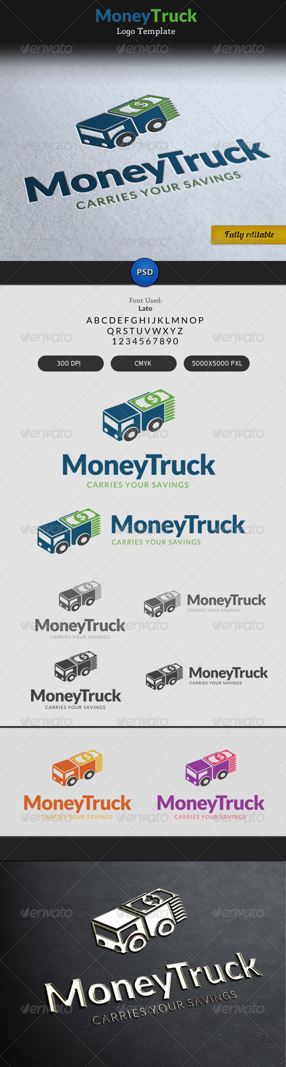 GraphicRiver Money Truck Transportation Currency Logo 7163728