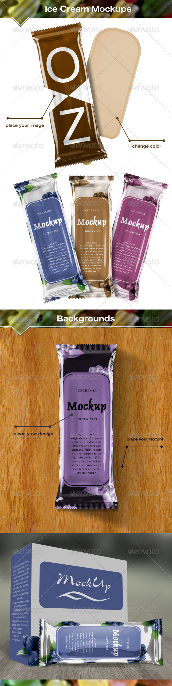 GraphicRiver Ice Cream Package Mockups 7164110