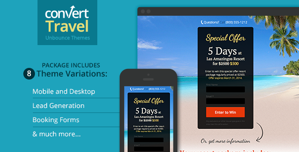 Travel & Tourism Landing Page - Unbounce Template - Unbounce Landing Pages Marketing