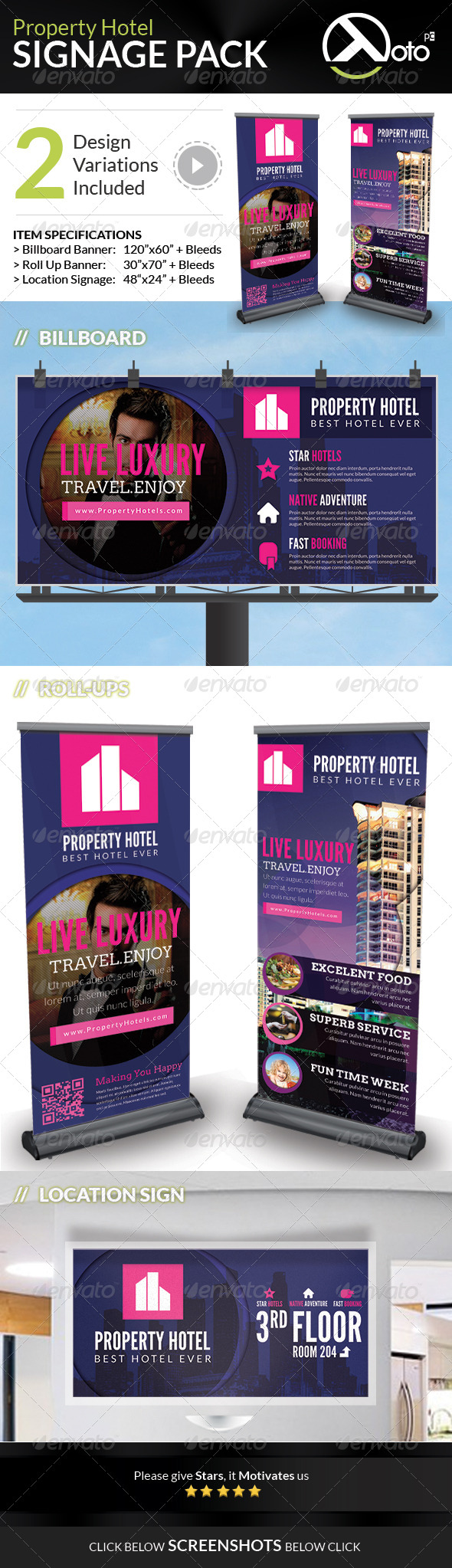 Property Hotel Signage Pack - Signage Print Templates