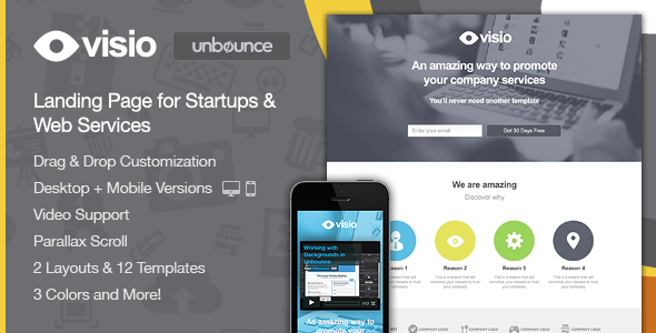Visio - Landing Page for Startups & Web Services