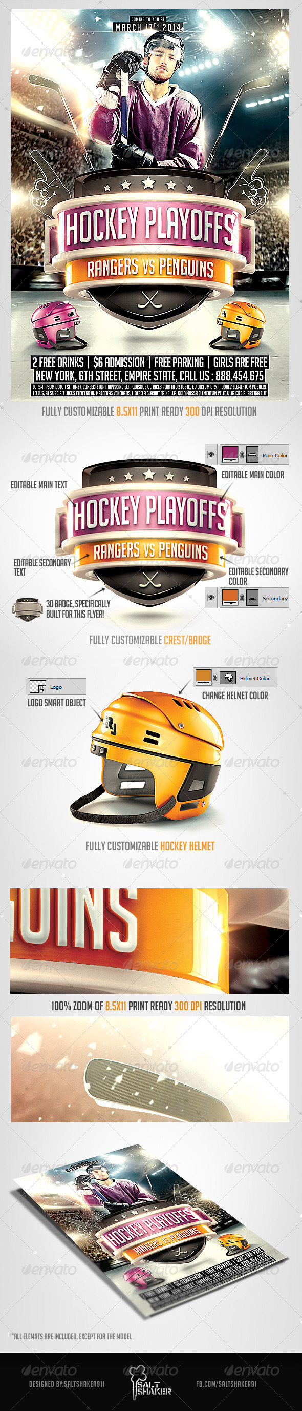 GraphicRiver Hockey Playoffs Flyer template 7167664