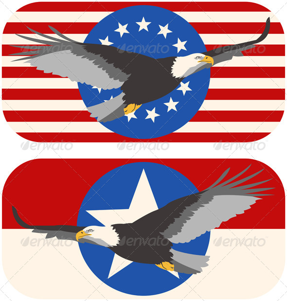 GraphicRiver American Bald Eagle Flags 7168922
