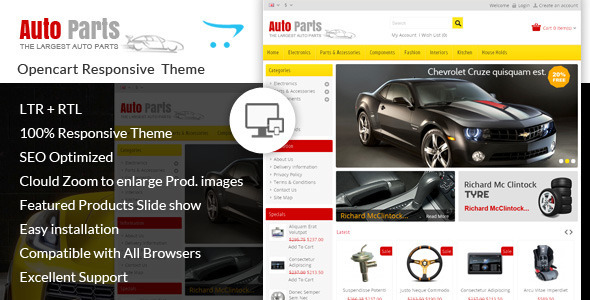 ThemeForest Auto Parts Tools Opencart Theme 7169206