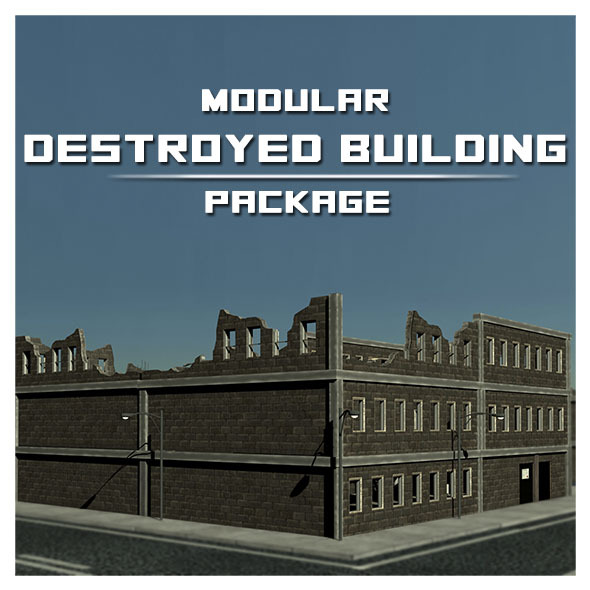 Modular Destroyed Building - 3DOcean Item for Sale