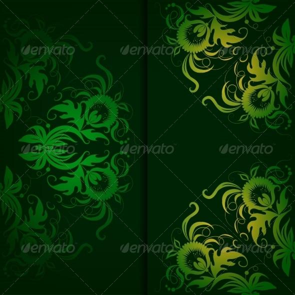 Vintage Pattern on a Dark Green Background