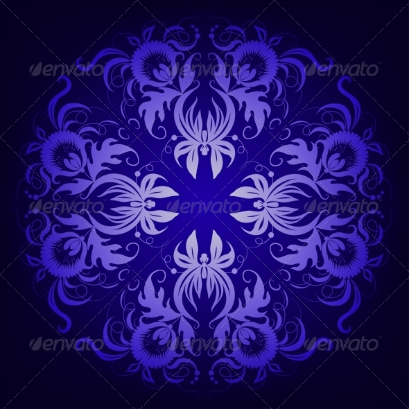 Filigree Damask Background with Lace Ornament