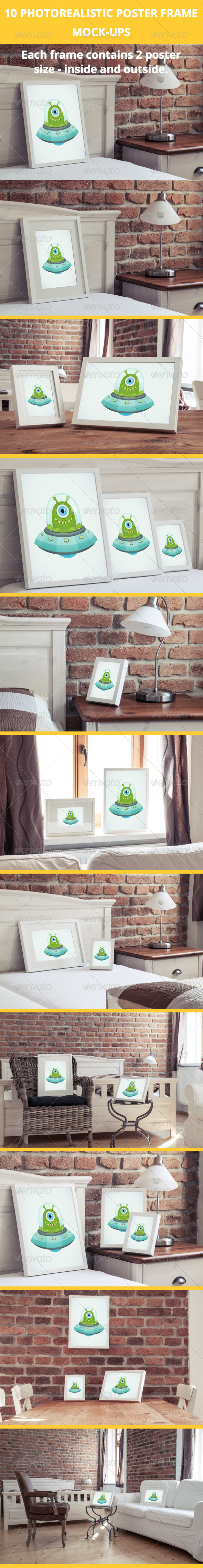 GraphicRiver 10 Poster Frame Mock-Ups in luxury interior 7170518
