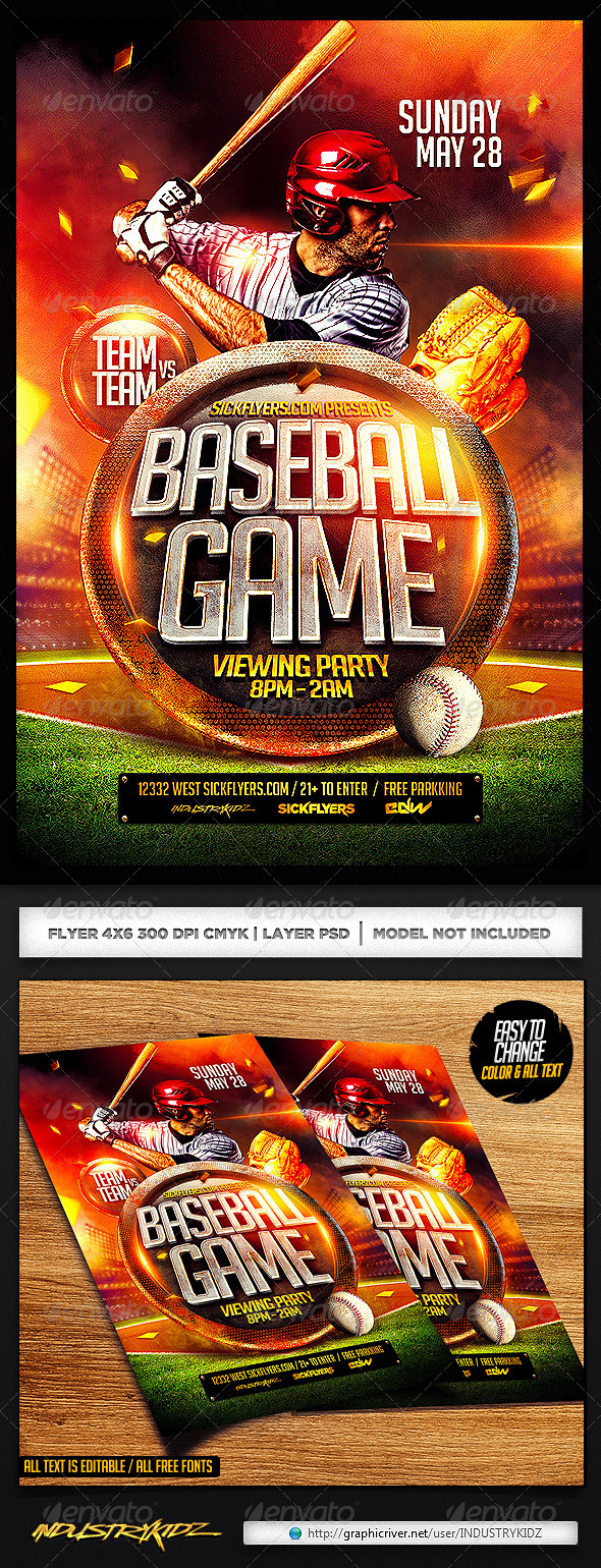 GraphicRiver Baseball Flyer Template PSD 7172103