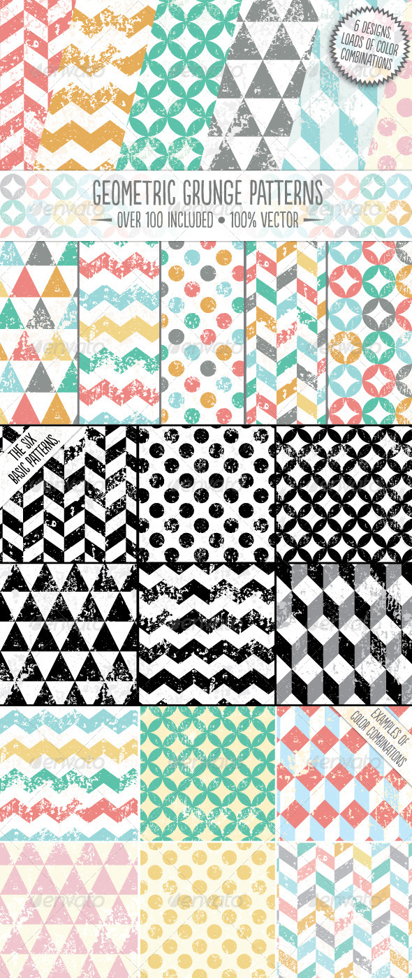 GraphicRiver Geometric Grunge Patterns 7172111
