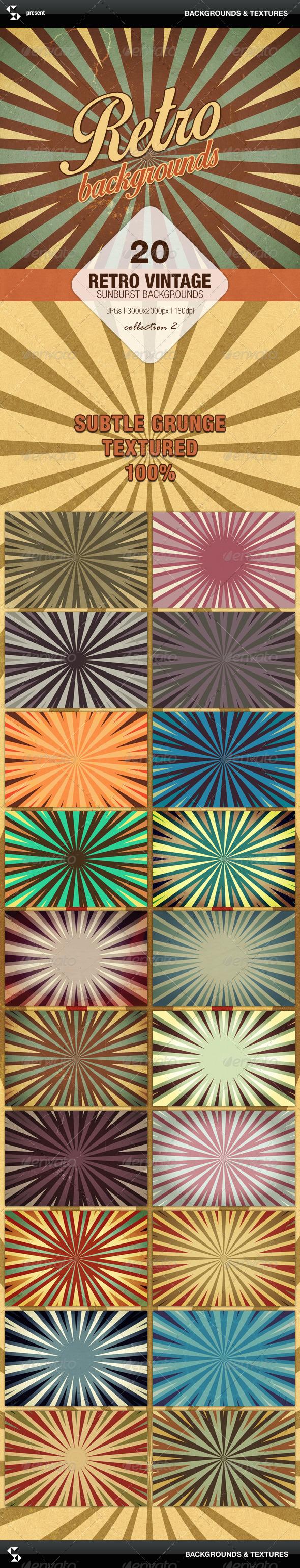 GraphicRiver Retro Backgrounds Vintage Sunburst Collection 2 7173814