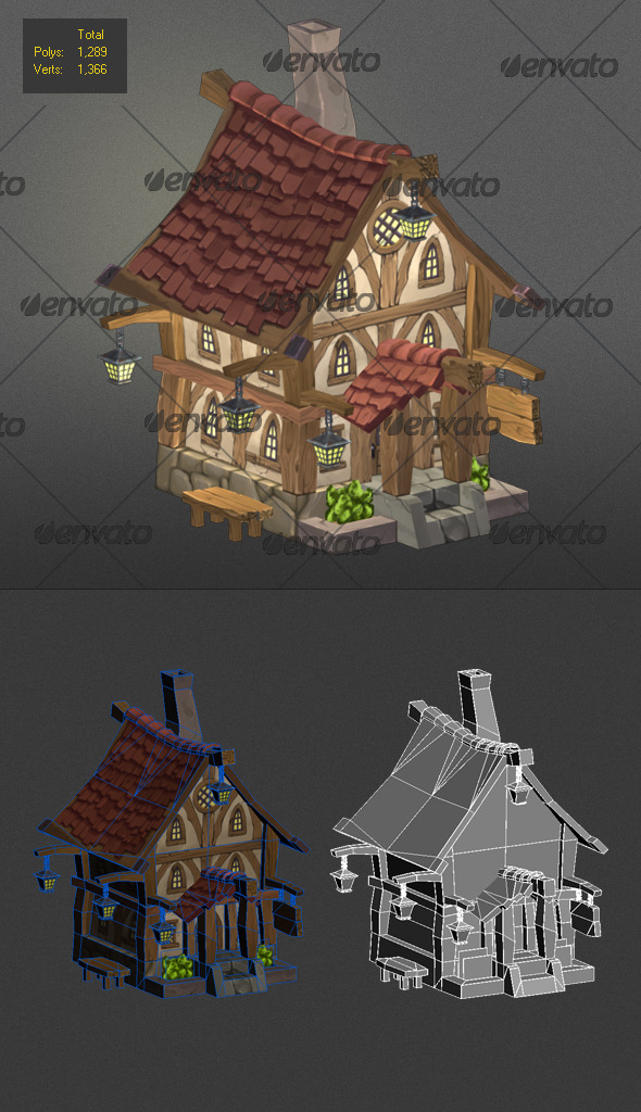 low poly wood house 3 - 3DOcean Item for Sale