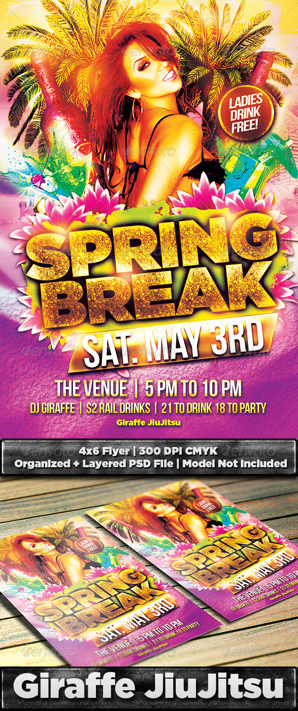 GraphicRiver Spring Break Flyer Template PSD 7176518