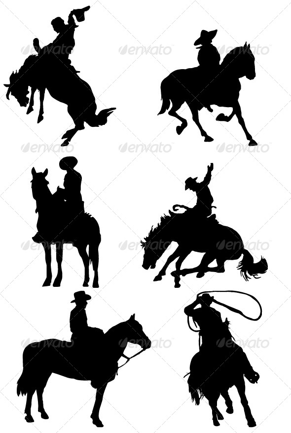 GraphicRiver Cowboy Riding Horse Silhouettes 7177162