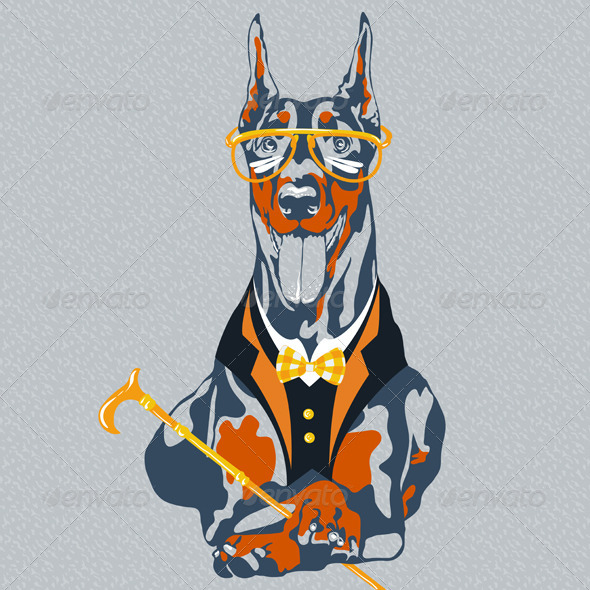 GraphicRiver Hipster Doberman Pinscher Dog 7177921