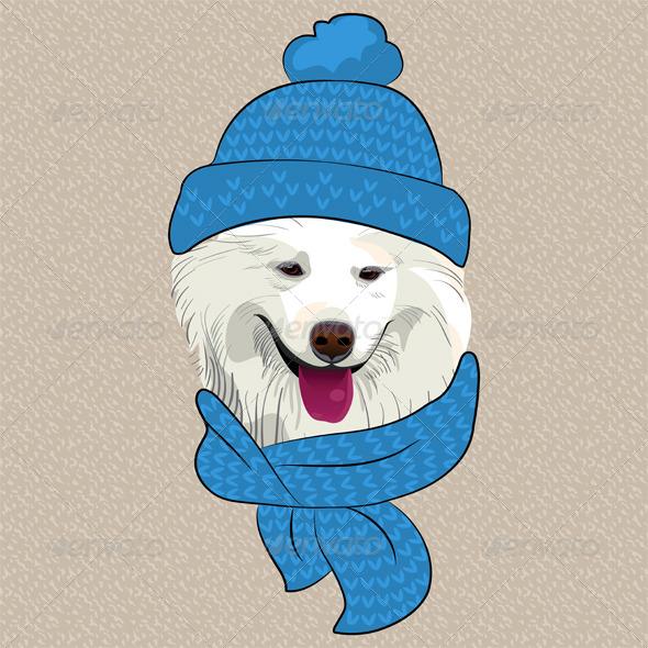 GraphicRiver Cartoon Hipster Samoyed Dog Smile 7177992