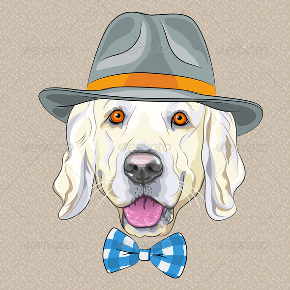 Cartoon Hipster Dog Golden Retriever breed