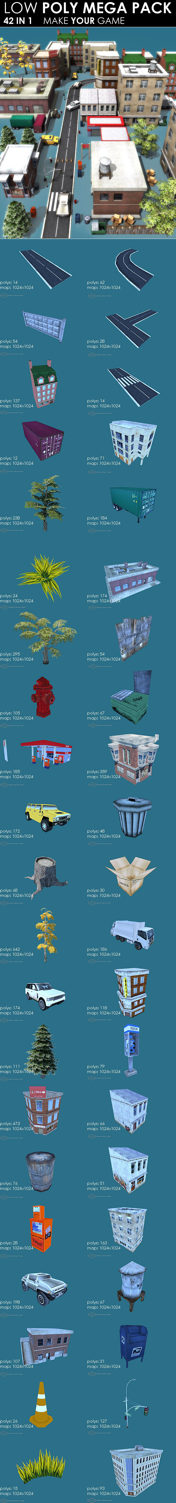 Low poly City Megapack 42 models