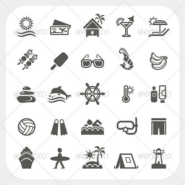 GraphicRiver Summer Holiday Icons Set 7180437