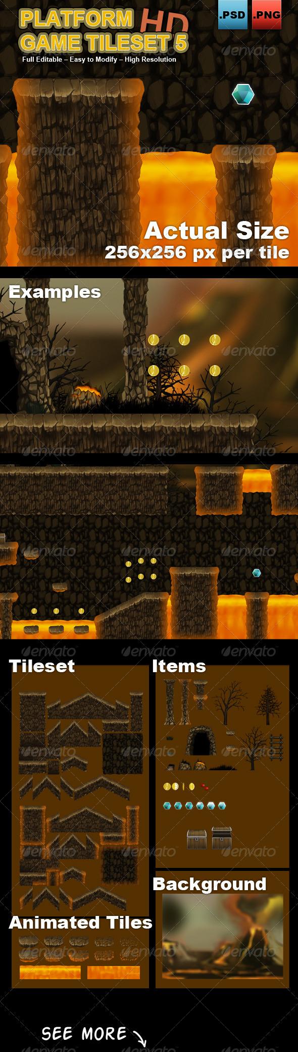 Platform Game Tileset 6 HD - Scenes Illustrations