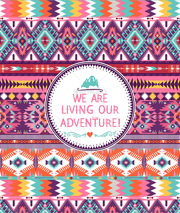 GraphicRiver Hipster Seamless Colorful Tribal Pattern 7182740