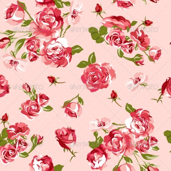 GraphicRiver Seamless Vintage Background with Roses 7183008