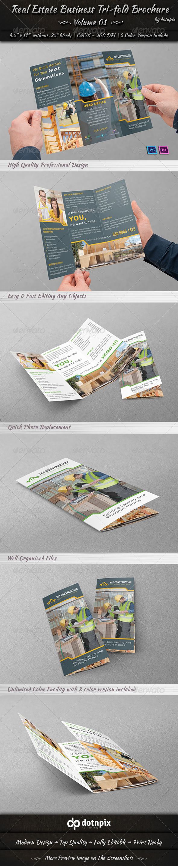 GraphicRiver Real Estate Business Tri-fold Brochure Volume 1 7183193