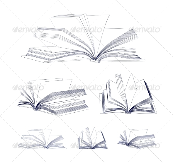 GraphicRiver Open Book Sketch Set 7184253